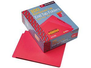 Smead 25710 Colored File Folders, Straight Cut, Reinforced End Tab, Letter, Red, 100/Box