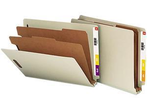 Smead 26810 Pressboard End Tab Classification Folder, Letter, 6-Section, Gray-Green, 10/Box