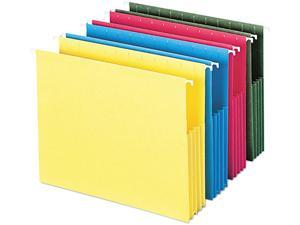 """Smead 64290 3"""" Capacity Hanging File Pockets, Letter, Assorted Colors, 4/Pack"""