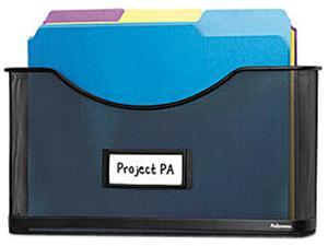 """Fellowes Partition Additions File Pocket, Mesh, 1 1/2"""" Capacity, Black"""
