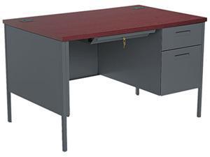 HON Metro Classic Right Pedestal Desk, 48w x 30d x 29-1/2h, Mahogany/Charcoal