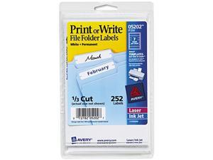 Avery 05202 Print or Write File Folder Labels, 11/16 x 3-7/16, White, 252/Pack