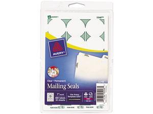 """Avery Mailing Seals, Permanent Adhesive, Clear, 1"""" Diameter, 480 Labels (5248)"""