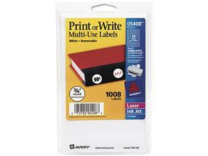 Avery 05408 Print or Write Removable Multi-Use Labels, 3/4in dia, White, 1008/Pack