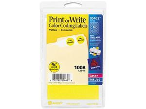 Avery 05462 Print or Write Removable Color-Coding Labels, 3/4in dia, Yellow, 1008/Pack