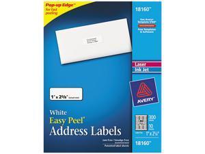Avery 18160 Inkjet Address Labels, 1 x 2-5/8, White, 300/Pack