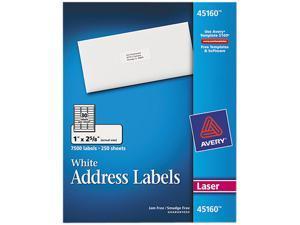 Avery 45160 Address Labels, 1 x 2-5/8, White, 7500/Box