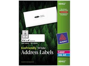 """Avery EcoFriendly Address Labels, Permanent Adhesive, 1-1/3"""" x 4"""", 1,400 Labels (48462)"""