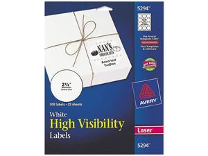 Avery 5294 High-Visibility Round Laser Labels, 2-1/2in dia, White, 300/Pack