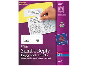 "Avery Send & Reply Piggyback Mailing Labels, Sure Feed Technology, 1-5/8"" x 4"" Outer, 1"" x 3"" Inner, 240 Labels (5735)"