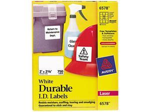 Avery 6578 Permanent ID Laser Labels, 2 x 2-5/8, White, 750/Pack