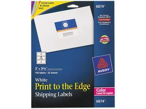 Avery 6874 Shipping Labels for Color Laser & Copier, 3 x 3-3/4, Matte White, 150/Pack