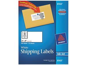 Avery Shipping Labels with TrueBlock Technology Inkjet 2 x 4 White 250/Pack 8163