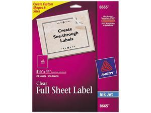 Matte Clear Shipping Labels Inkjet 8 1/2 x 11 25/Pack