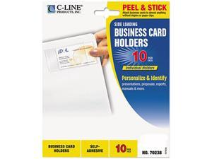 C-line 70238 Self-Adhesive Business Card Holders, Side Load, 3-1/2 x 2, Clear, 10/Pack
