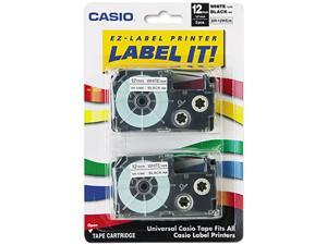 Casio XR12WE2S Tape Cassettes for KL Label Makers, 12mm x 26ft, Black on White, 2/Pack