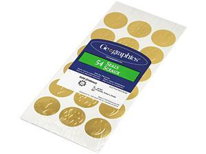 Geographics 45204 Self-Adhesive Embossed Seals, Gold, 54/Pack