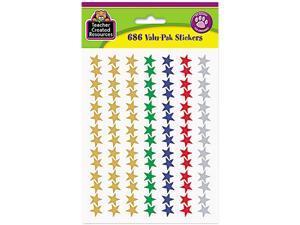 Teacher Created Resources 6644 Sticker Valu-Pak, Foil Stars, 686/Pack