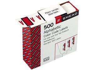 Smead 67071 A-Z Color-Coded Bar-Style End Tab Labels, Letter A, Red, 500/Roll