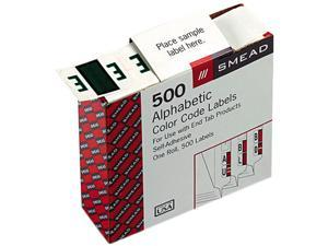 Smead 67075 A-Z Color-Coded Bar-Style End Tab Labels, Letter E, Dark Green, 500/Roll