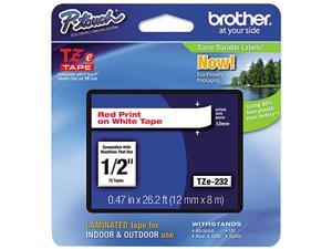 """Brother P-Touch TZ Series Tape Cartridge , 0.5""""w, Red on White"""