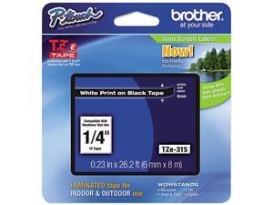 """Brother P-Touch TZ Series Tape Cartridge, 0.25""""w, White on Black"""