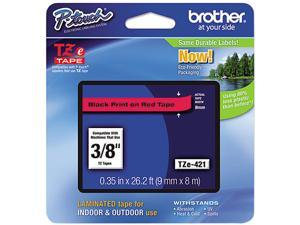 "Brother P-Touch TZ Series Lettering Tape, 3/8"", Black on Red"
