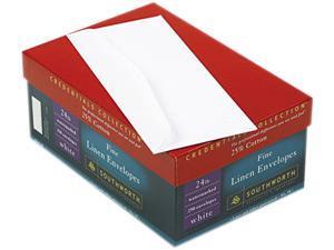 Southworth J554-10 25% Cotton Linen #10 Envelope, V-Flap, White, 250/Box