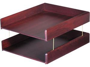 Carver 02213 Hardwood Double Letter Desk Tray, Two Tier, Mahogany