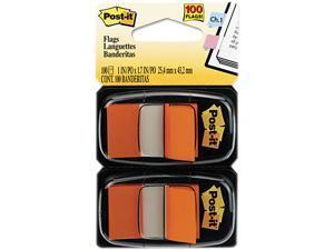 Post-it Flags 680-OE2 Standard Tape Flags in Dispenser, Orange, 100 Flags/Dispenser