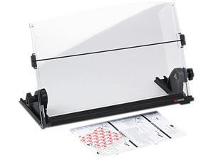 3M MMMDH630 In-Line Adjustable Desktop Copyholder, Plastic, 150 Sheet Capacity, Black/Clear