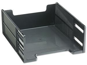 Rubbermaid 17671 Stackable High Capacity Front Load Letter Tray, Polystyrene, Ebony
