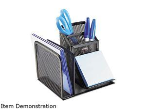 Rolodex 22171 Wire Mesh Desk Organizer with Pencil Storage, 5 3/4 x 5 1/8 x 5 1/8, Black