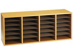 Safco 9423MO Wood/Laminate Sorter, 24 Sections, 39 3/8 x 11 3/4 x 16 3/8, Medium Oak