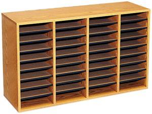 Safco 9424MO Wood/Laminate Literature Sorter, 36 Sections, 39 3/8 x 11 3/4 x 24, Medium Oak