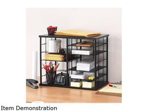 Rubbermaid 1738583 12-Slot Organizer, MDF, Desktop Sorter, 21 x 11 3/4 x 16, Black