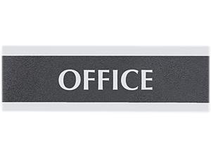 "Headline Sign 4762 Century Series Office Sign, ""Office"", 9 x 3, Black/Silver"