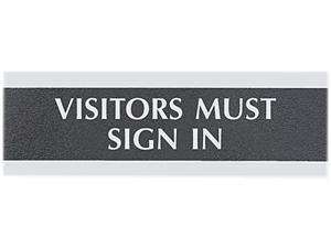 """Headline Sign 4763 Century Series Office Sign, """"Visitors Must Sign In"""", 9 x 3, Black/Silver"""