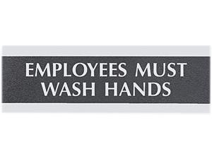"""Headline Sign 4782 Century Series Office Sign, """"Employees Must Wash Hands"""", 9 x 3"""