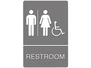 Headline Sign 4811 ADA Sign, Restroom/Wheelchair Accessible Tactile Symbol, Molded Plastic, 6 x 9