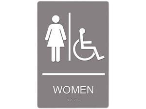 Headline Sign 4814 ADA Sign, Women Restroom Wheelchair Accessible Symbol, Molded Plastic, 6 x 9