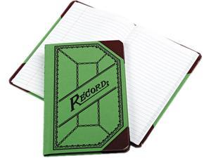 Boorum & Pease BOR667R Miniature Account Book, Green/Red Canvas Cover, 200 Pages, 9 1/2 x 6