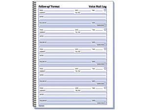 Rediform 51114 Voice Mail Wirebound Log Books, 8 x 10-5/8, 500 Sets/Book