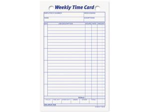 Tops 3016 Employee Time Card, Weekly, 4-1/4 x 6-3/4, 100/Pack