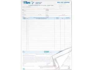 Tops 3846 Snap-Off Bill of Lading,16-Line, 8-1/2 x 11, Three-Part Carbonless, 50 Forms