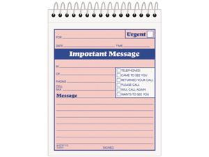 Tops 4010 Telephone Message Book with Fax/Mobile Section, 4-1/4 x 6, Two-Part, 50/Book
