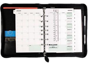 Day-Timer 41745 Bonded Leather Organizer Starter Set, 5-1/2 x 8-1/2, Black