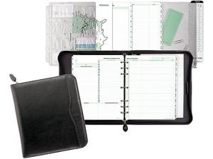 """Day-Timer 83151 Verona Zippered Leather Loose-Leaf Planner Set, 8 1/2"""" x 11"""", 7-ring, Leather, Black - 8315101A"""