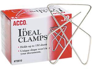 "Acco 72610 Ideal Clamps, Steel Wire, Large, 2-5/8"", Silver, 12/Box"
