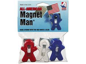Adams Manufacturing 3303-52-3241 Magnet Man Clip, Plastic, Assorted Colors, 3/Pack